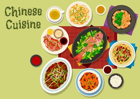 Chinese keuken feestelijk diner icoon van gebakken noedels met ham, tomaat chili garnalen, peking eend salade, kip met gember saus, cashew kip, gestoomde vis met kool, rundvlees met oestersaus