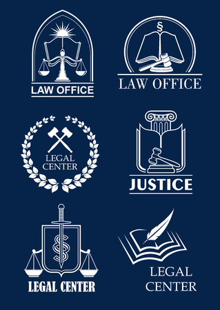 lawful: Law office, legal center and justice symbol set. Scale and sword of justice, judge mallet and law book heraldic badges with laurel wreath and shield. Lawyer services themes design