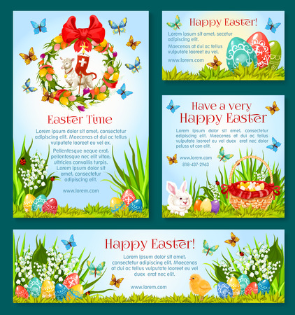 Easter holiday greetings banner template. Easter Egg Hunt celebration poster, card and flyer with Easter egg, rabbit bunny, spring flower wreath, basket, chicken chick, lamb of God, cross, butterfly