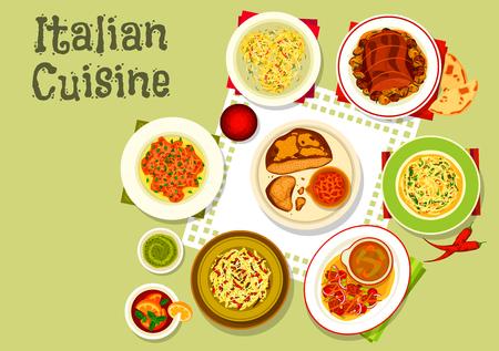 cucina italiana icona della pasta con salame e pesto, nidi di pasta di granchio, spaghetti con formaggio e aglio, pane carne con peperoncino, insalata di manzo di verdure, carpaccio di manzo sul pane, cotto carne rotolo