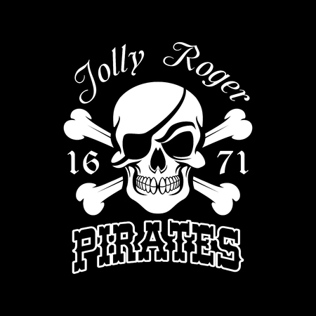 Pirate skull and crossbones symbol. Jolly Roger with eye patch for pirate flag, danger for life sign, Halloween and piracy themes design 向量圖像