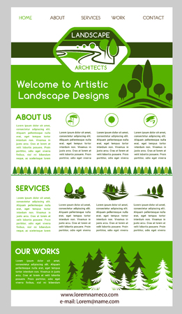 landscape architecture: Landing page template for landscape architecture business company single page website. User friendly interface with navigation menu, header and body, supplemented with nature view and tree symbols Illustration