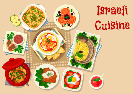 kosher: Israeli cuisine stuffed fish icon served with vegetable lamb stew, herring forshmak on flatbread, chickpea hummus, beef liver pate, fried egg with vegetables, donut with fruit jam, potato casserole