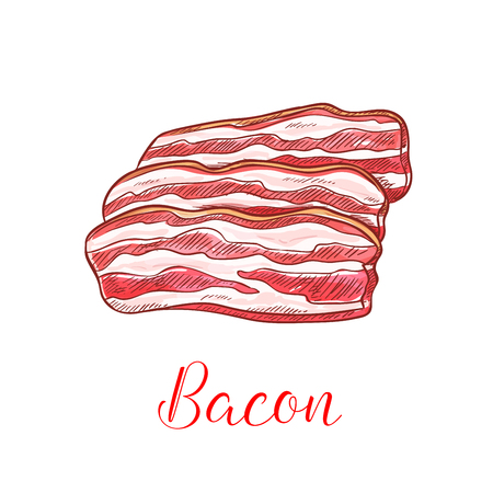 strip design: Bacon strip isolated sketch. Smoked pork belly meat thin slices for breakfast menu, butcher shop or bbq party design Illustration