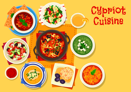 Cypriot cuisine healthy food icon of tomato olive salad with feta, grapefruit cheese salad, eggplant tomato sauce, vegetable stew, cucumber avocado soup, bean stew, bulgur pilaf, chicken rice soup Ilustração