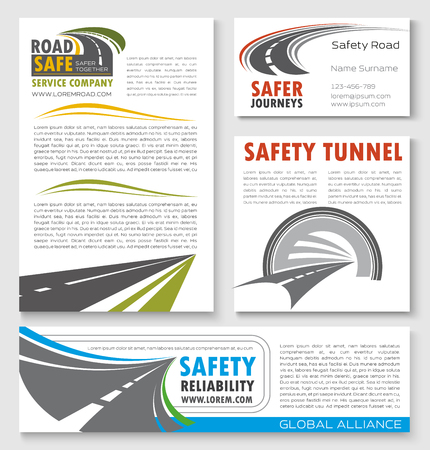 road construction: Road construction and highway traffic safety banner template. Transportation and construction service company poster, business card, flyer and brochure design set with road tunnel and asphalt highway