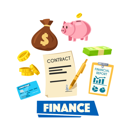 finance report: Finance poster. Money bundle, coin, credit banking card, money bag, piggy bank, financial report and signed contract. Financial management, investment, banking themes design Illustration