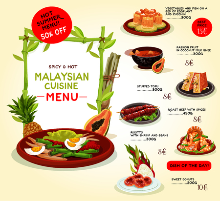grilled vegetables: Malaysian cuisine restaurant menu template. Asian food special offer with grilled beef, seafood risotto, baked fish with vegetables, tropical fruit dessert, stuffed tofu and donut with sugar syrup