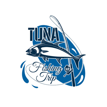 bluefin tuna: Tuna fishing trip symbol.