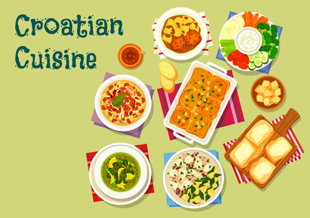 Croatian cuisine icons Stock Vector - 73212300