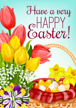 Easter basket with eggs and flowers greeting card.