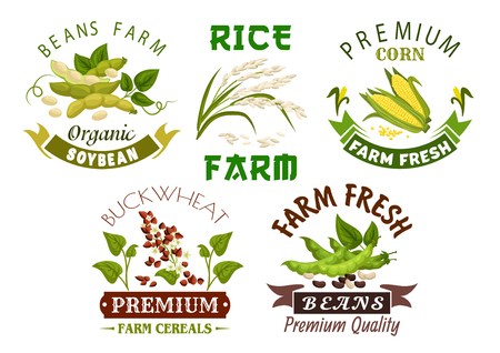 Vegetable, bean and cereal farm emblem set.