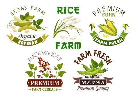 beans: Vegetable, bean and cereal farm emblem set.