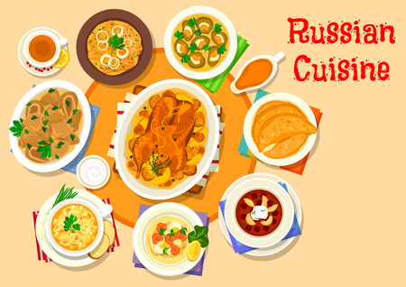 Russian cuisine icons