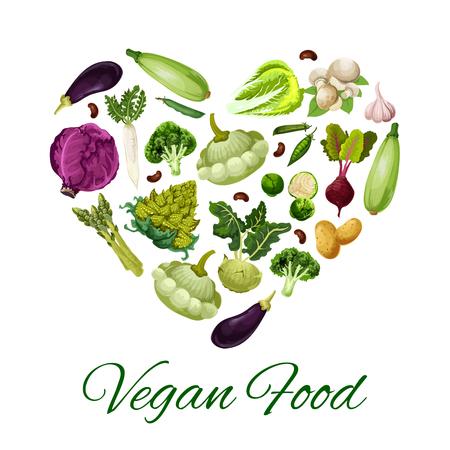 Vegetable food heart poster.