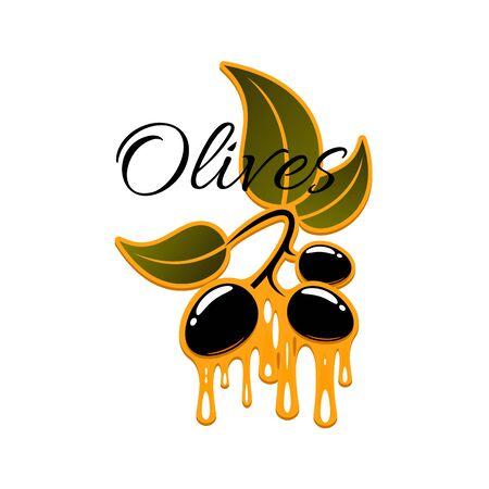 mediterranean diet: Olives icon. Illustration