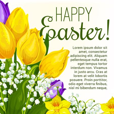 Easter spring holiday floral festive poster.