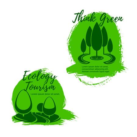 Conjunto de iconos de ecología y ecoturismo. Parque verde o callejones de jardín con árboles y césped. Símbolo de viaje verde, ecología y etiqueta de conservación del medio ambiente, diseño de estilo de vida ecológico