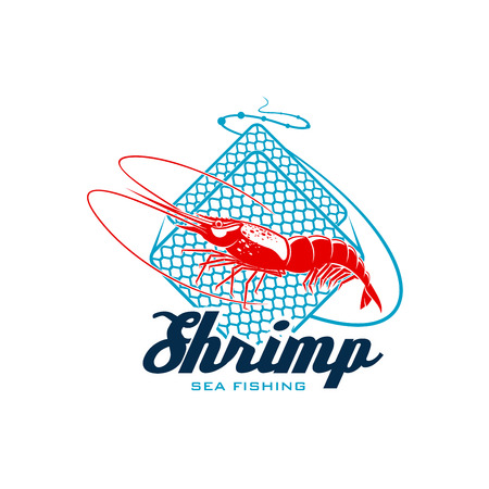 Sea fishing sign with shrimp.