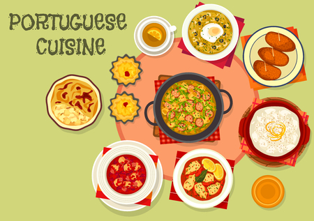 Portuguese cuisine popular dishes icon Imagens - 73281023