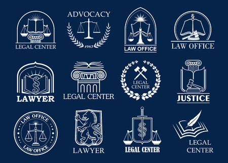 Law firm, legal center and lawyer office badge set. Stock Illustratie