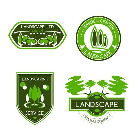 Conjunto de etiqueta de diseño de paisaje.