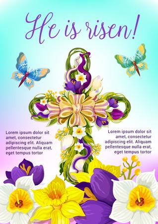 pasqua cristiana: Easter cross of flowers festive poster. Vettoriali