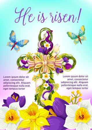 Easter cross of flowers festive poster. Illustration