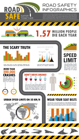 Road safety infographics. Vector Illustration