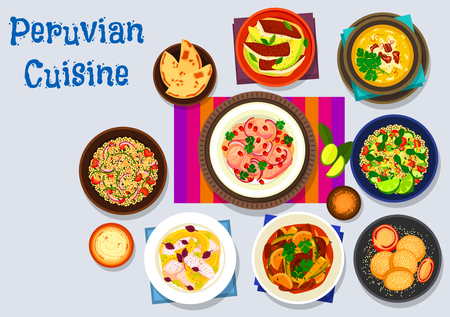 Peruvian cuisine icon of fish avocado ceviche, fish onion salad with lemon, beef corn stew, quinoa feta salad, chicken with nut sauce, grapefruit fish salad, quinoa avocado salad, corn cookie sandwich