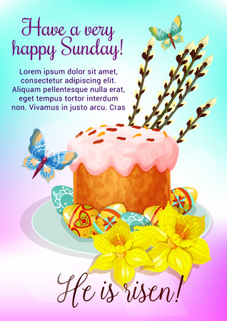 Easter cake cartoon greeting card. Patterned Easter eggs with traditional sweet bread, yellow flowers of narcissus and shoots of willow tree with flying butterflies. Easter spring holiday theme design Zdjęcie Seryjne - 128161325