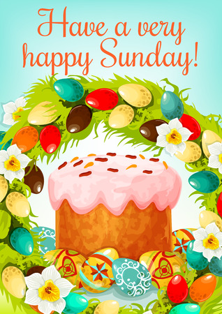 Happy Easter Sunday cartoon greeting poster. Easter cake with patterned eggs, framed by floral wreath of white narcissus flowers and coloured eggs. Easter spring holidays greeting card design