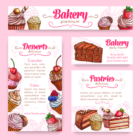 fruit cake: Bakery and pastry desserts banner template set. Cake and cupcake with cream, chocolate, cookie and candy, fruit dessert with strawberry, cherry and blueberry. Cake shop menu poster design Illustration