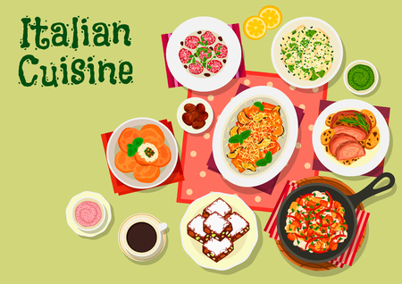 fruit cake: Italian cuisine lunch menu icon with tomato eggplant pasta, beef pasta with olives, potato dumplings with cheese, vegetables and mushroom sauce, baked lamb, rice ball, dried fruit and nut cake Illustration