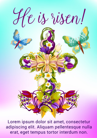 the christian religion: Easter flower cross greeting card. Easter egg and flower of tulip, narcissus, crocus in a shape of christian religion crucifix, adorned by ribbon bow and butterflies. Easter spring holidays design