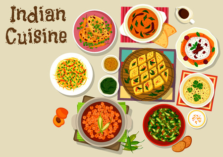cherry tomato: Indian cuisine dinner menu icon with chicken curry with vegetables, chickpea curry, lentil tomato sauce, ocra curry, cabbage pepper salad, corn lentil soup, chickpea semolina pie, cherry cream dessert