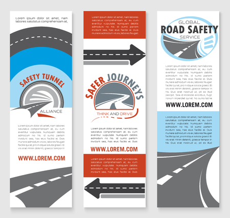 road safety: Road safety banner template set. Transportation services, travel agency and traffic safety flyer or brochure design with road tunnel, highway and asphalt roadway symbols, text layouts and copy space