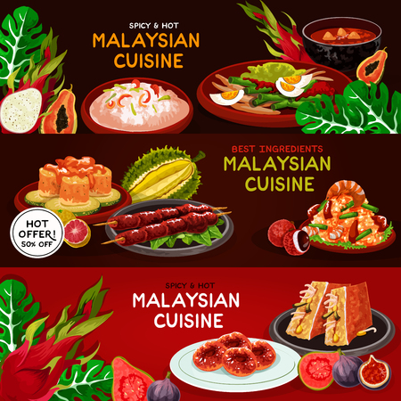 Malaysian cuisine restaurant banner set. Seafood risotto, grilled chicken, vegetable salad, fried rice with shrimp, stuffed tofu, fish salad, papaya soup, potato donut. Asian food menu design