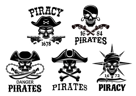 Piracy emblems and Jolly Roger pirate vector icons of captain skull in tricorne hat and eyepatch, bandana. Robber sailor or filibuster symbols of swords, sabers and pistol guns, ship anchor and chains