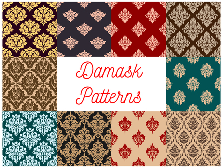 Floral damask pattern of flourish seamless vector ornament. Baroque ornamental flower tracery and flowery adornment set of luxury ornate motif and vintage backdrops for interior design