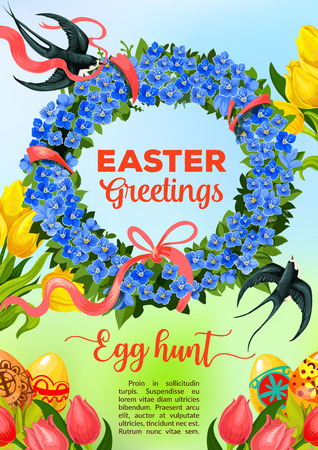 forget me not: Easter greetings and Egg Hunt celebration poster. Easter patterned egg in green grass with tulip flowers and floral wreath of blue forget-me-not with red ribbon and flying swallow bird