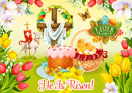 Easter Day wishes greeting card. Easter egg and cake, egg hunt basket with chicken chicks, cross with floral wreath and lamb of God on grass meadow poster, edged with flowers of tulip, lily, narcissus Stock Vector - 73297971