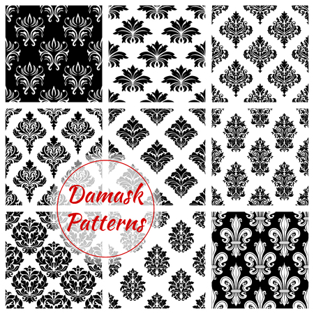 vintage patterns: Floral Damask seamless patterns of vector flowery tracery and flourish ornate adornment. Royal luxury ornamental flowers and vintage baroque motif ornaments for interior decor design and backdrops