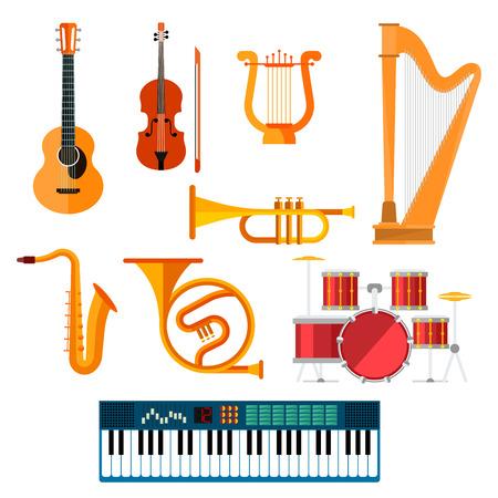 arpa: Guitarra, sintetizador de piano y tambor de estación iconos vectoriales. Instrumentos musicales de cuerda, viento y clave de arpa aislada, saxo o saxofón, trombón o trompeta y violín de violín para música de orquesta o jazz Vectores