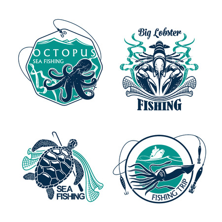 Fishing trip vector icons of catch and fisher tackle. Emblems of octopus and squid, turtle and lobster. Badges and ribbons, fisherman rods and fish net, baits or lures and hooks for fishery club Illustration