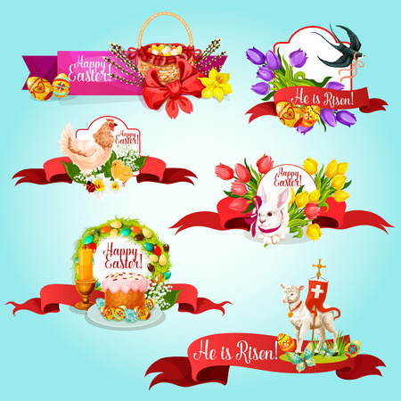 cartoon flower: Easter ribbon banner and label set. Easter egg, rabbit bunny, spring flower, cake, egg hunt basket, chicken, lamb of God with cross, swallow bird, candle and willow twigs isolated cartoon symbols