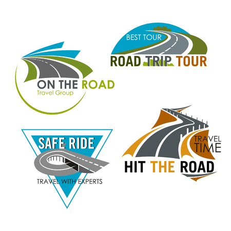Road travel icons set for tour trip and tourist agency. Isolated emblems of safety ride on highway for tourist or traveler adventure journey service company