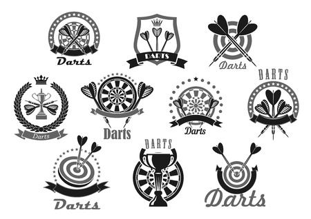 team game: Darts vector icons of dartboard and arrows. Emblems of dart game winner cup awards, trophy heraldic laurel wreath, crown and victory ribbons and stars for sport or club team game championship