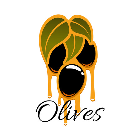 Olive oil on olives branch vector icon. Black ripe fruits of olive-tree bunch symbol for salad dressing ingredient or seasoning product or bottle label