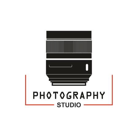 camera symbol: Camera lens vector icon for photo studio or photography school. Symbol or emblem of retro or digital photograph lens aperture tube